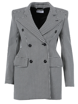 Structured Mid-Length Houndstooth Blazer