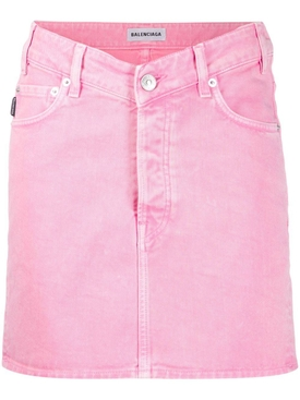 Denim V Waist Mini Skirt Pink