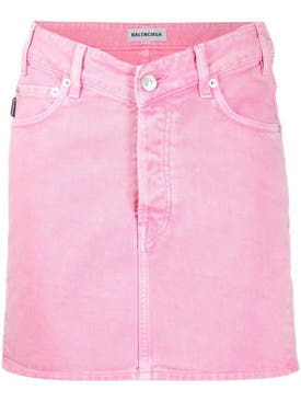 Balenciaga - Denim V Waist Mini Skirt Pink - Women