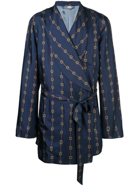 Stirrups and Web silk robe coat BLUE