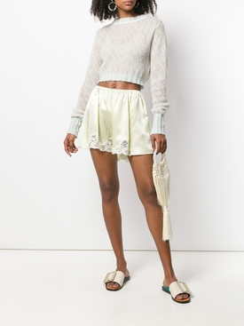 lace trim satin shorts YELLOW