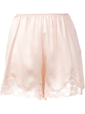 lace trim satin shorts PINK