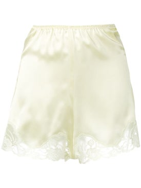Stella Mccartney - Lace Trim Satin Shorts Yellow - Women