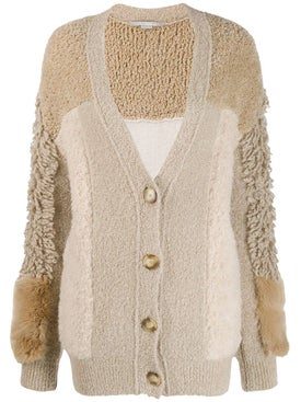 Stella Mccartney - Furry Fringed Cardigan Neutral - Women