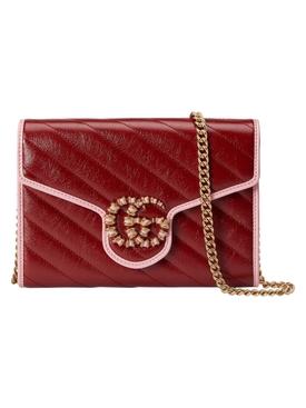 GG Marmont Mini Chain Bag Red