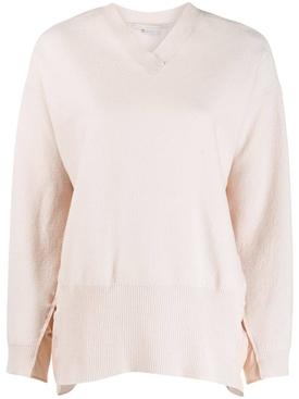 Ruched sides V-neck sweater