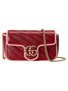 GG Marmont Super Mini Chain Bag Red