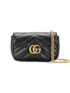 GG Marmont logo leather mini bag BLACK