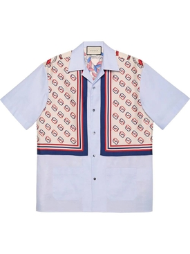 Oxford cotton and silk bowling shirt
