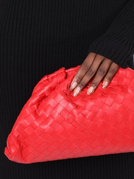 Interwoven pouch clutch RED