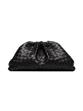 Interwoven pouch clutch BLACK/SILVER