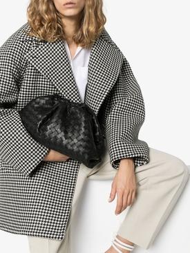 Interwoven pouch clutch BLACK/SILVER