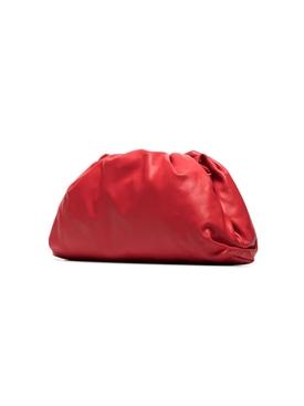 Lambskin pouch clutch NAIL POLISH/SILVER