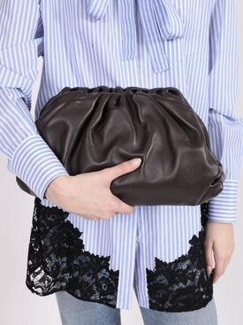Lambskin pouch clutch BROWN/GOLD