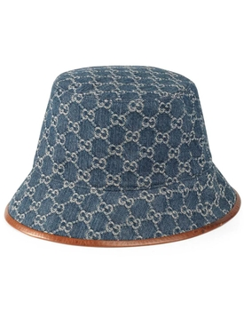 Denim GG Supreme Leather-Trimmed Bucket Hat