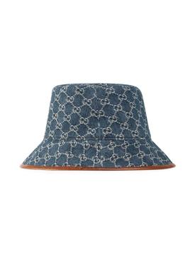 Denim GG Supreme Leather-Trimmed Bucket Hat