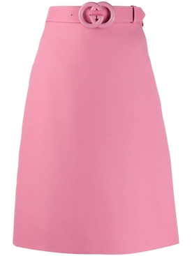 Pink GG belt midi skirt