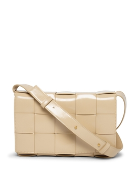 Cassette intrecciato leather shoulder bag Porridge