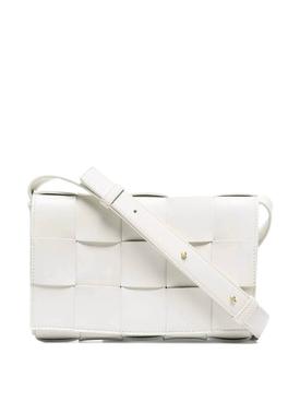 CASSETTE LEATHER SHOULDER BAG WHITE