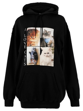 I Love Cats Hoodie, Black