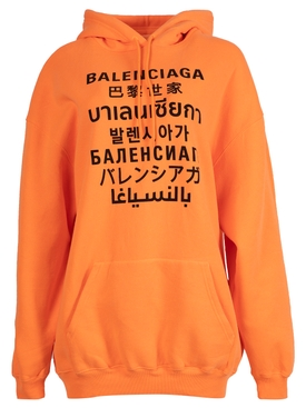 Oversized Languages Hoodie, Fluorescent Orange