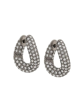 Silver-tone embellished loop earrings