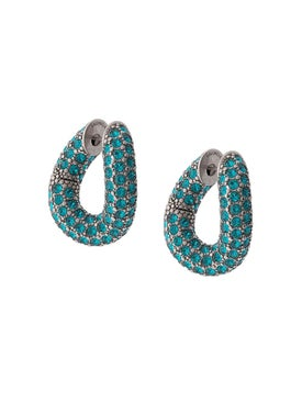 Balenciaga - Blue Crystal Loop Earrings - Women