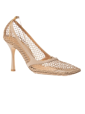 Neutral and Gold Stretch mesh pumps