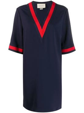 Gucci - Oversize Maxi Shirt With Web Navy - Women