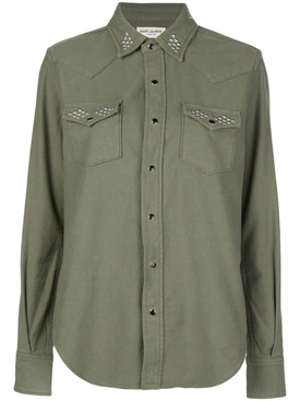 Green studded detail shirt