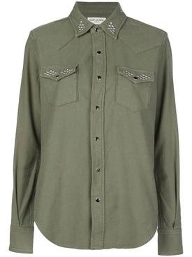 Green studded detail shirt