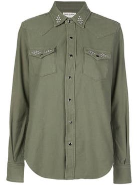 Saint Laurent - Green Studded Detail Shirt - Women