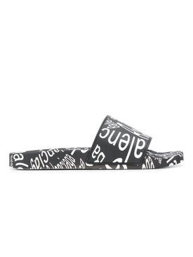 Balenciaga - Black And White Logo Rubber Slides - Men