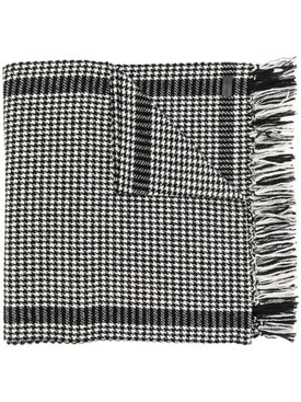 Saint Laurent - Fringed Hem Houndstooth Print Scarf Black & White - Men