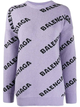 Over-sized logo print sweater PURPLE