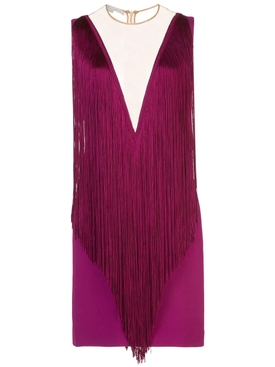 plunging fringe mini dress
