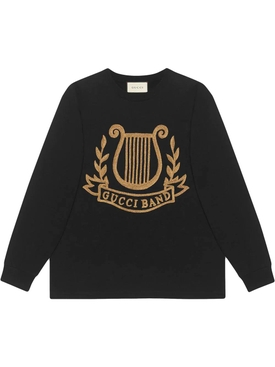 Oversized T-shirt with lyre patch BLACK