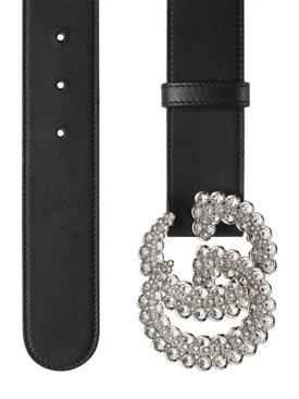 Black embellished GG logo belt
