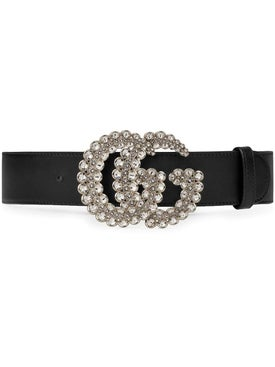 Gucci - Gg Marmont Crystal Leather Belt Black - Women
