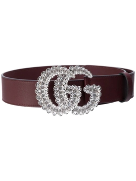 GG Marmont crystal leather belt Vintage Bordeaux