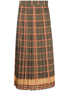 High-waisted check print skirt