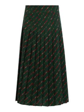 Pleated stirrups print midi skirt