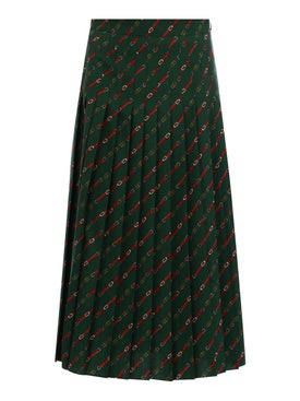 Gucci - Pleated Stirrups Print Midi Skirt - Women
