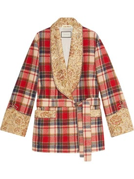 Gucci - Plaid Wool Jacket With Embroidery - Women