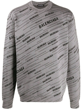 Balenciaga - Diagonal Logo Crewneck Jumper Grey - Men