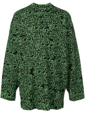 green slogan print sweater