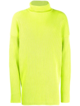 ribbed turtleneck sweater NEON GREEN