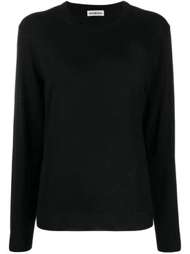 Balenciaga - Intarsia Logo Crewneck Sweater Black - Women