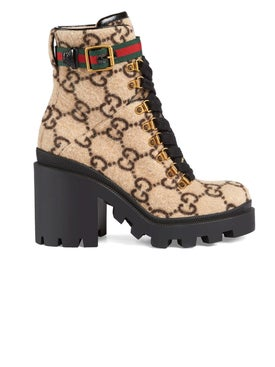 Gucci - Gg Wool Heeled Utility Ankle Boot - Women