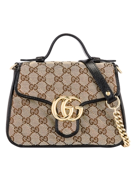 GG Marmont 2.0 Top Handle Bag NEUTRAL/ BLACK